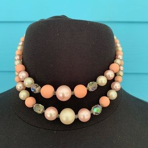 Necklace J38 Vintage Look Pink Cream Crystal Beads